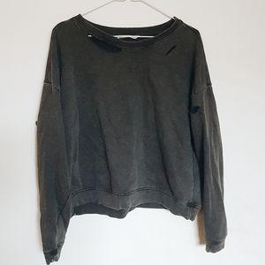 Torn/Distressed Cropped Sweatshirt